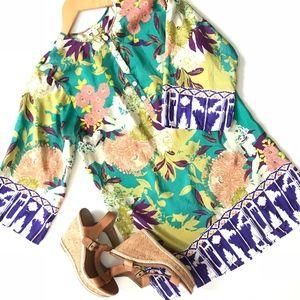 CAbi Poetry Floral Silk Tunic Top